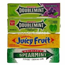 Wrigley's Chewing Gum (Pack of 4) Double Mint,Spearmint,Blueberry Mint from Thai