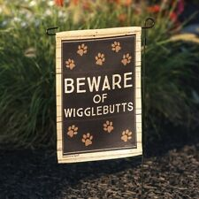 "New!~Garden Flag~""Beware Of Wigglebutts""~Dog~Pol yester~Double Sided~12"" x 18"""