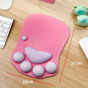 NEW 3D Cat Paw Mouse Pad with Wrist Support Cartoon Cute Cats Paw Soft Silicone