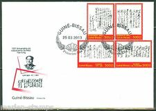 GUINEA BISSAU 2013 STAMP ON STAMP REPRODUCING MAO CALLIGRAPHY SET FDC
