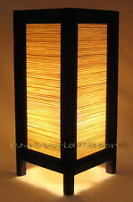 ASIAN HOME / BEDROOM ART NIGHTSTAND TABLE LAMPS - *BAMBOO WOOD BLIND*