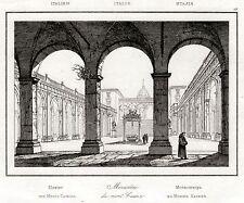 ABBAZIA DI MONTECASSINO. Terra di Lavoro. Regno di Napoli. Stampa Antica. 1835