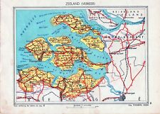 Antique map Zeeland traffic verkeer Netherlands 1936