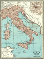1942 Antique MAP of ITALY Original Vintage Italy Map Gallery Wall Art 8085