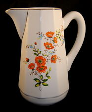 Beautiful S.A. LEART Co. LOUCARTE Orange/Gold Painted Floral Pitcher (Portugal)