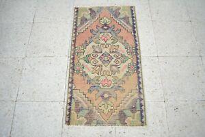 Turkish Door Mat,1.5x2.9,Vintage Bath Mat,Antique Rug,Vintage Old Rug,Oushak Rug