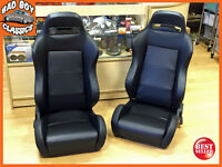 PAIR of BB3 Reclining Universal Bucket Sports Seats Black For VOLKSWAGON VW