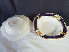 Pair Alfred Meakin Harmony 30's Dessert Bowls Royal Blue Multi Colour on White