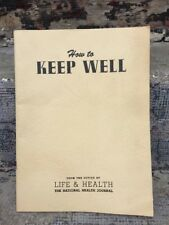 Vintage How To Keep Well Booklet National Health Journal 1940's Vtg