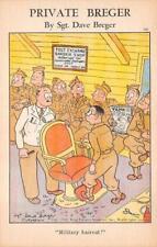 PRIVATE BREGER BARBER SHOP HAIRCUT U.S. ARMY COMIC WWII MILITARY POSTCARD (1942)