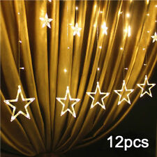 2m 48 LEDs Curtain Fairy String Lights 12 Stars for Window Bedroom Party Indoor
