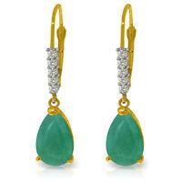 Natural Emerald Gemstones & Diamonds Dangles Leverbacks Earrings 14K. Solid Gold