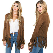 Fashion Women's Tassel Fringed Lady Suede Top Cardigan Jacket Coats Blazer 2017