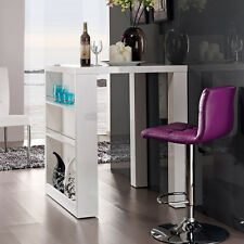 Bartisch HOME mit Regal Stehtisch Bistrotisch in Hochglanz weiß 108x80x80cm Neu