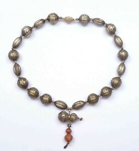 1930's Chinese Solid Silver Bead Gourd Pendant & Carnelian Agate Charms Necklace