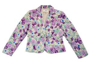 Petite Sophisticate Jacket Blazer Single Button Textured Purple Floral Size 8P