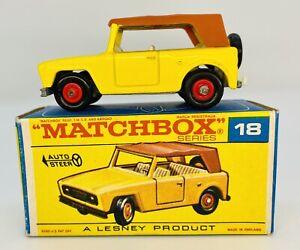 1969 LESNEY MATCHBOX 18E FIELD CAR NMIB & Original Type F Box Near Mint Beauty