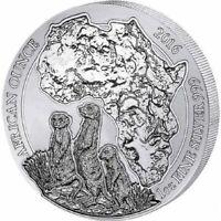 1 Unze / 1 oz  Silver / Silber **Ruanda Erdmännchen ** 2016 African Ounce 50 RWF