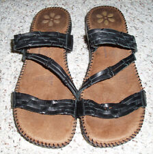 DR SCHOLL'S 'Betty' Leather  Weave Slides Sandals~Gel Pac Insoles~Black~Size 8 M