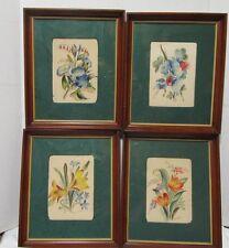 Vintage WATERCOLORS Flowers Set 4 signed Fred Sheane Michaelian & Kohlberg NY