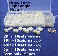40set JST XH 2.5 Right angle 2 3 4 5Pin Terminal Housing Header Connector 2.54MM