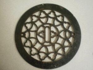 Antique Round Cast Iron Floor Register Heat Grate Vent Grille Vintage