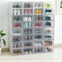 Shoe Box Set Tidy Plastic Clear Foldable Stackable Storage Case Home Organizer