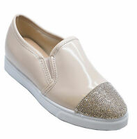 WOMENS BEIGE SLIP-ON LOAFERS DIAMANTE TRAINER PUMPS CASUAL SHOES SIZES 3-8