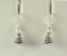 Mini Christmas Tree Dangle Earrings .925 Sterling Silver Stocking Stuffer USA