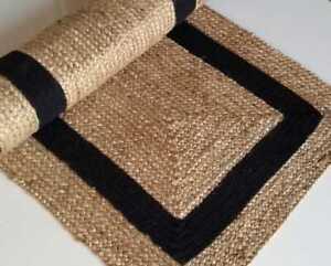 Runner Rug 100% jute braided handmade reversible carpet rustic modern area Rugs