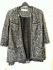 Zara Knit Black White Boucle Beaded Cardigan Size S Small UK 8