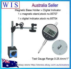 """0-25.4mm/1"""" Digital Dial Indicator 0.01/.0005'' w 60Kg Magnetic Base Holder"""