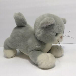 "Vintage 1986 Applause CASEY KITTY 8"" Stuffed Grey Kitten Plush Gray Cat #5907"