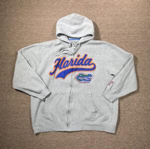 University Of Florida Gators Sweatshirt Men's XXL Full Zip Hoodie Gray Logo E5