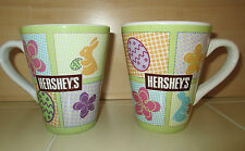 2 Hershey's Candy Collectible Ceramic Pastel Chocolate Bunny Egg Coffee Mugs