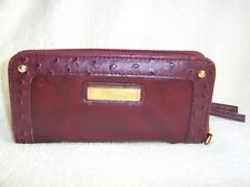 Jane Norman Large Zipped Purse Wallet in Burgundy