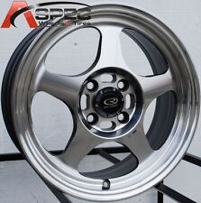 15X7.0 ROTA SLIPSTREAM WHEELS 4X100 RIMS +40MM FITS INTEGRA COBALT NEON CIVIC