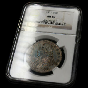 Rare Antique Old Coin 1831 Silver Half Dollar AU50 Capped Bust United States