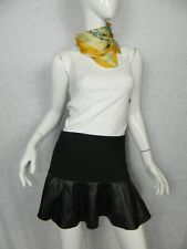 ZARA Skirt Black Polyester Blend and Lambskin Leather Ruffle Mini Skirt Sz Small