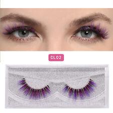 Multi Color 3D Mink False Eyelashes 1 Pair Green Purple Gold Colorful Makeup