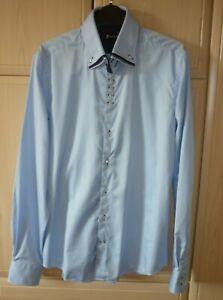 Men's Classy Italian Dress Shirt by7camicie. Pale Blue. Size M. + Pocket Square/