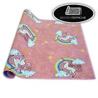 Teppichboden für Kinder UNICORN Breite 200, 400 cm rosa Einhorn Regenbogen Wolke