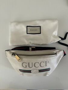 GUCCI White Leather Printed Small Body Belt Bag Authentic Made In Italy 🇮🇹