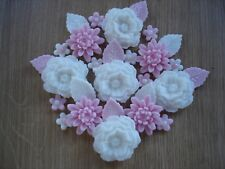 PINK ROSE BOUQUET Edible Sugar Paste Flowers Cup Cake Decorations Toppers