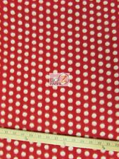 "POLKA DOT PRINT POLAR FLEECE FABRIC - Red White Dots - 60"" WIDTH SOLD BTY (CRF)"