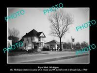 OLD LARGE HISTORIC PHOTO OF ROYAL OAK MICHIGAN, THE MOBIL OIL GAS STATION 1940