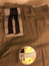 RIDERS by LEE WOMENS KHAKI CURVY FIT TROUSER SIZE 6 M CASUAL SEXY 4 PKT MIDRISE