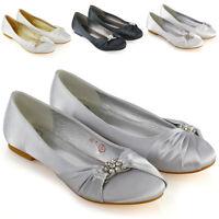 Womens Wedding Shoes Satin Diamante Brooch Ladies Flats Ballet Pumps Size 3-9