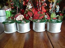 """4 New Other(old stock) Silver Rolls Christmas Holiday Ribbons 2.5""""W 6 Yards Each"""