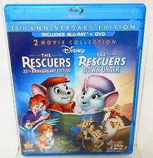 2D THE RESCUERS & RESCUERS DOWN UNDER BLU-RAY + DVD 35th Anniversary Edition